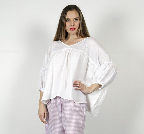 Molly White Linen Top