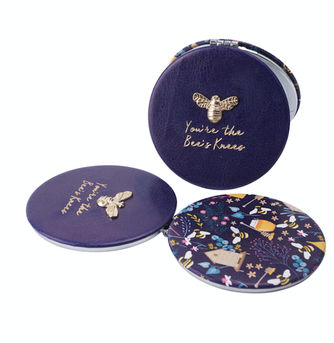 Beekeeper Compact Mirror Purple/Pink/Teal/Yellow
