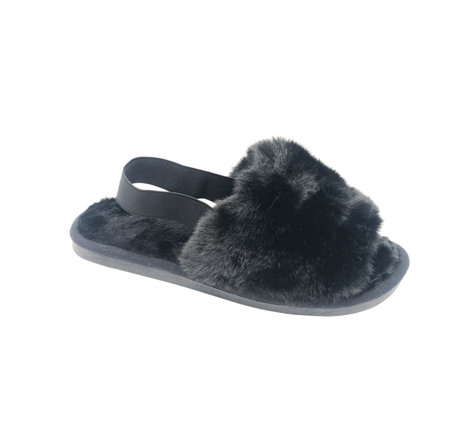 Black Fluffy Slides