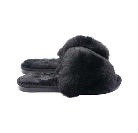 All Black Fluffy Slipper n' Sliders