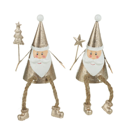 Glitter Metal Sitting Santas With Dangly Leg Mix