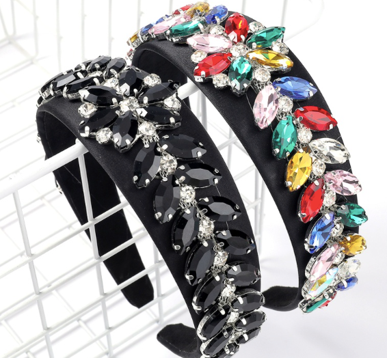 Black Petal Embellished Jewelled Headband