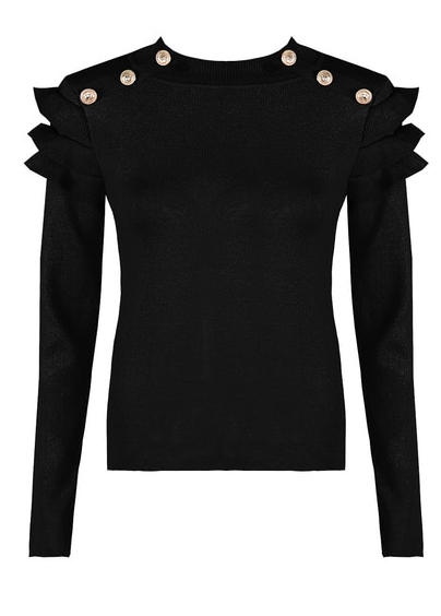 Button Frill Sleeve Jumper Black
