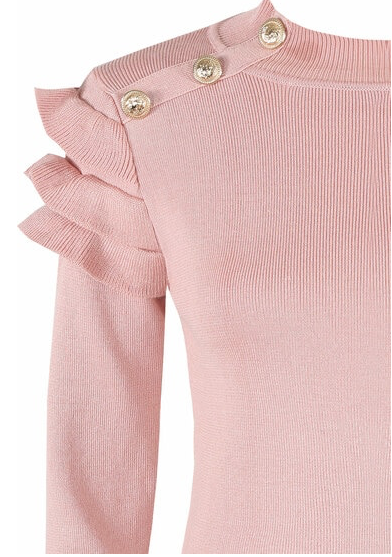 Button Frill Sleeve Jumper Pink
