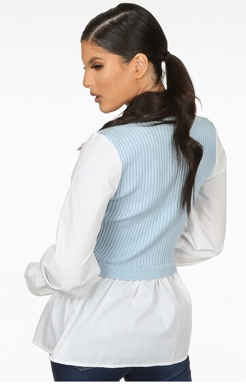 Ribbed Knit Top With Shirt Hem Baby Blue