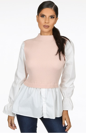 Ribbed Knit Top With Shirt Hem Pink