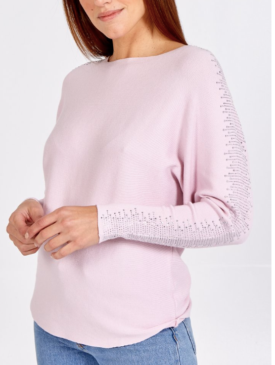 Copy of Lainey Batwing Embellished Sleeve in Pink