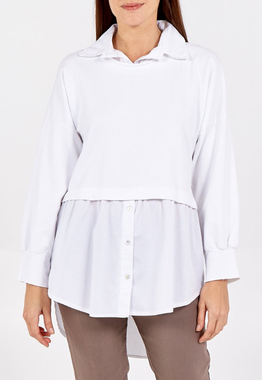 Simone Long Sleeve Shirt With Crop Jumper in White