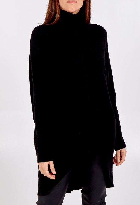Isla Batwing Jumper Dress in Black