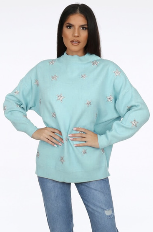Nessa Star Jumper in Mint
