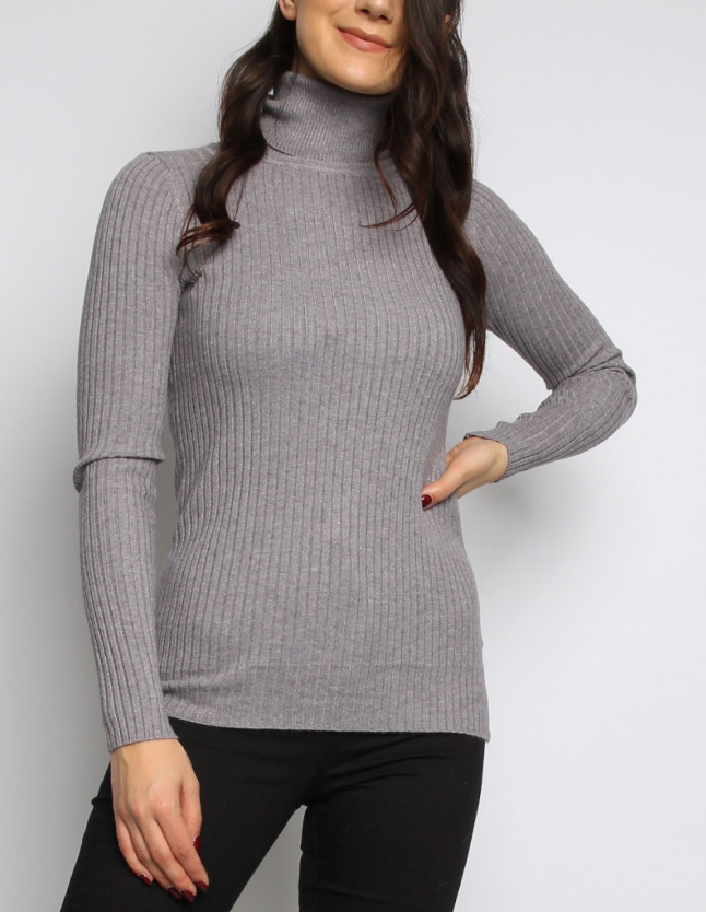 RiRi Rollneck Ribbed Jumper GREY