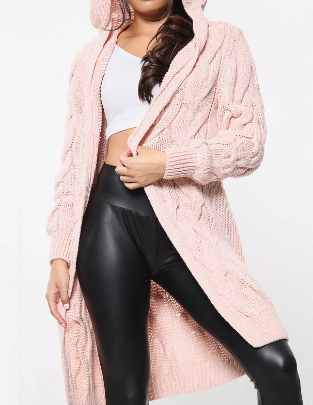 Cosy Carrie Cable Knit Cardi DUSKY PINK