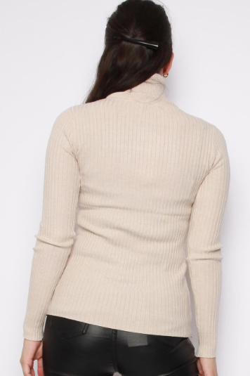 RiRi Rollneck Ribbed Jumper BEIGE