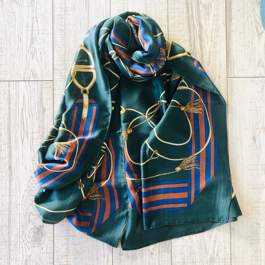 Emerald Chain & Buckles Silk Scarf