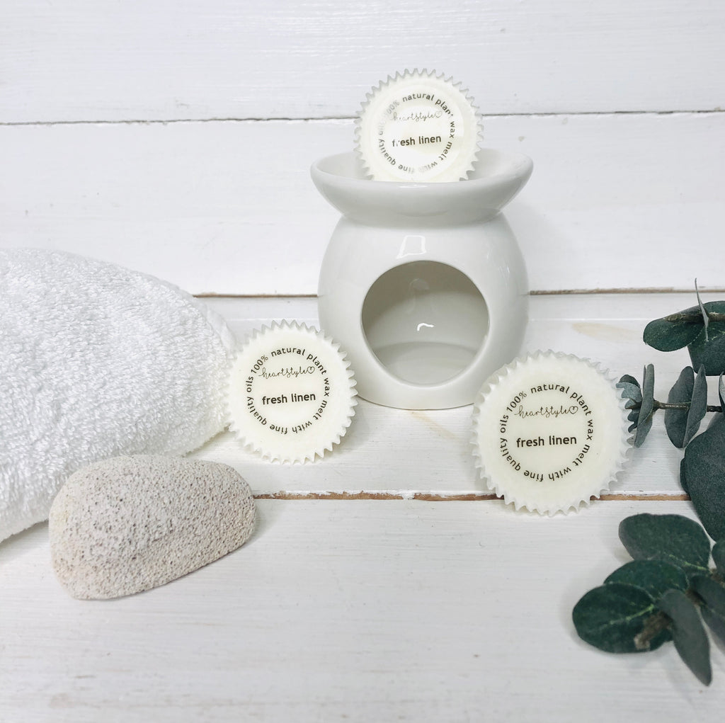 3 Fresh Linen Wax Melts & Ceramic Oil Burner