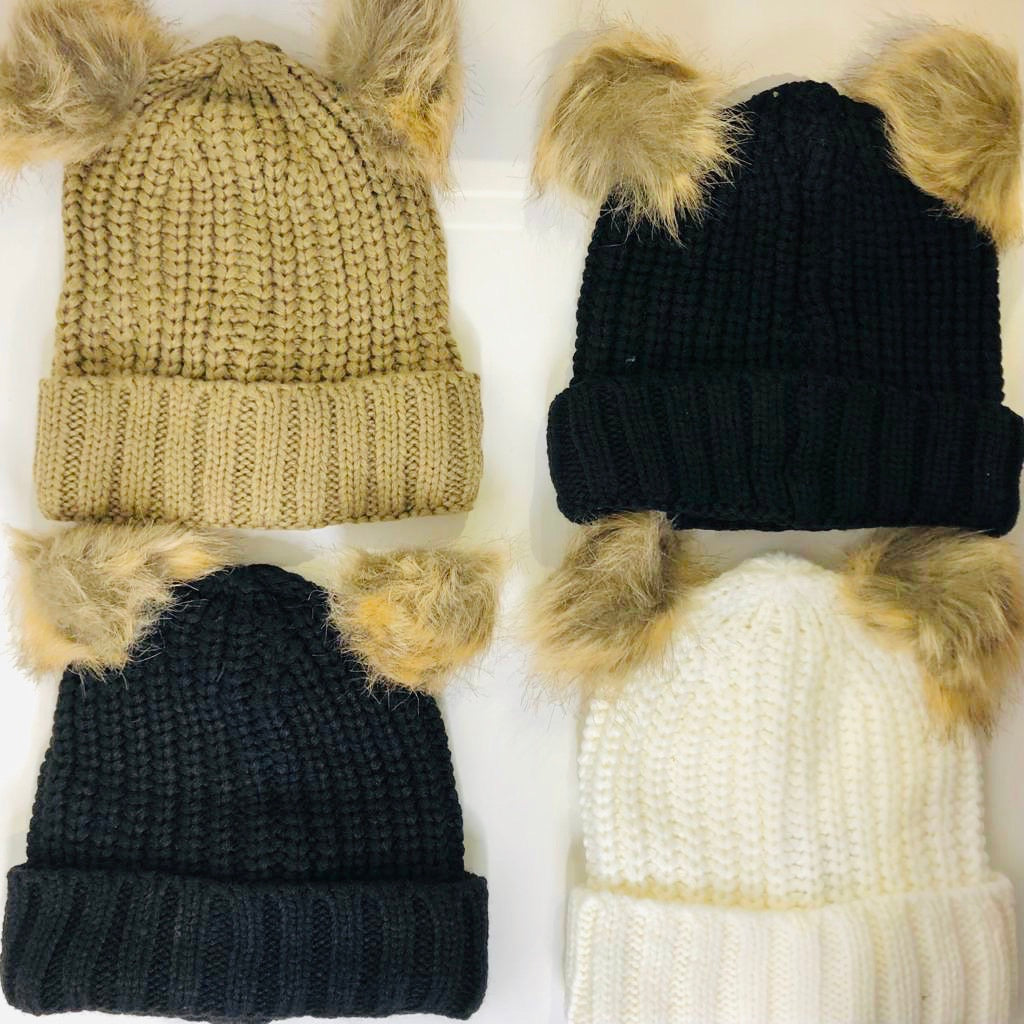 Cute Cosy Double Pom Pom Hat Various Colours