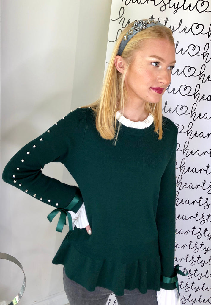 STUDDED SLEEVE FRILL CUFF JUMPER GREEN
