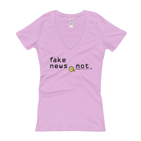 fakenews.not  Next Level 3540 Ladies' Deep V-Neck Soft Wash T-Shirt