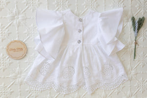 "White embroidered ""Angel"" top"