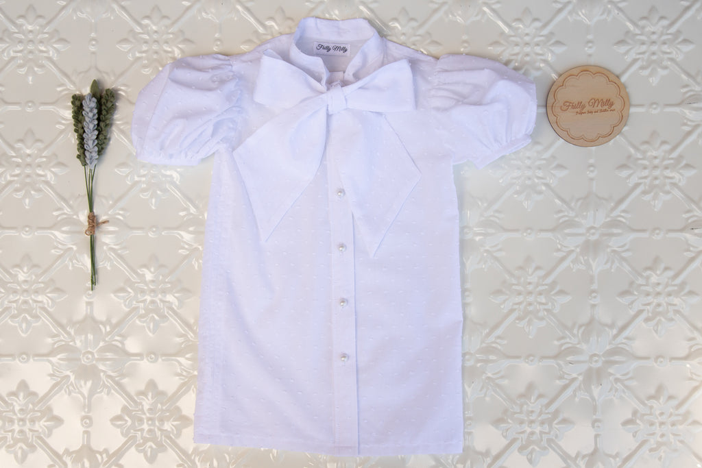 Short sleeved bow tie blouse
