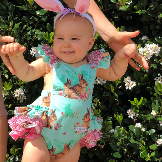 Easter romper in Pink, Mint, Lavender or Navy
