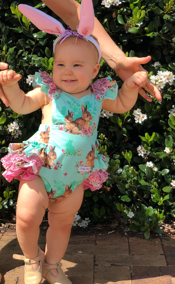 Easter romper in mint/green