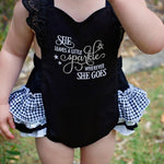 "Frilly Milly ""She leaves a little sparkle"" embroidered romper"