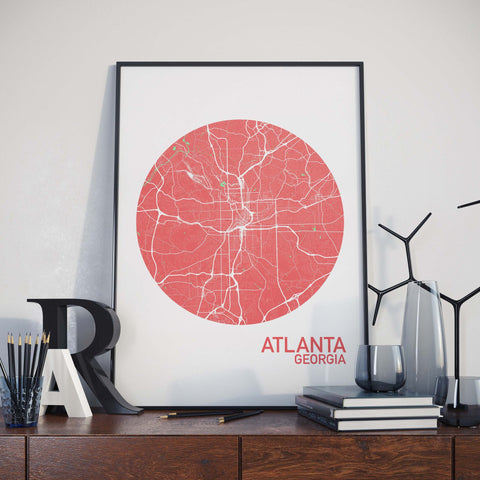 Atlanta, Georgia Color City Map Print
