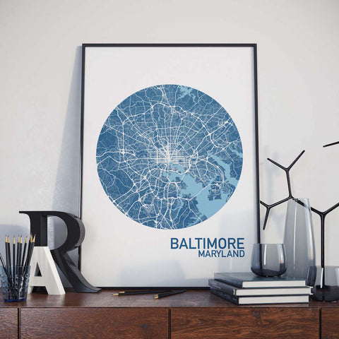 Baltimore, Maryland Color City Map Print
