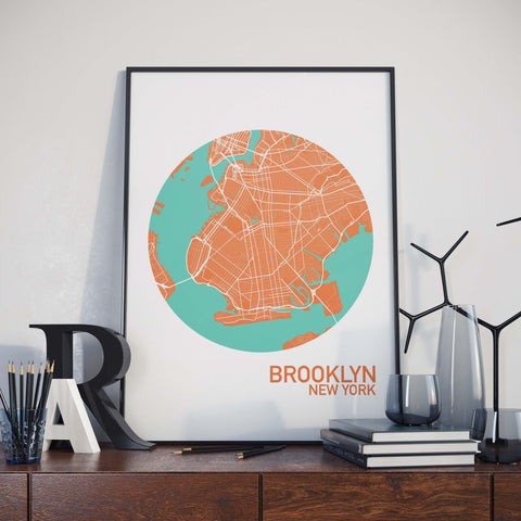 Brooklyn, New York Color City Map Print
