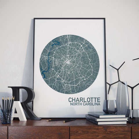 Charlotte, North Carolina Color City Map Print