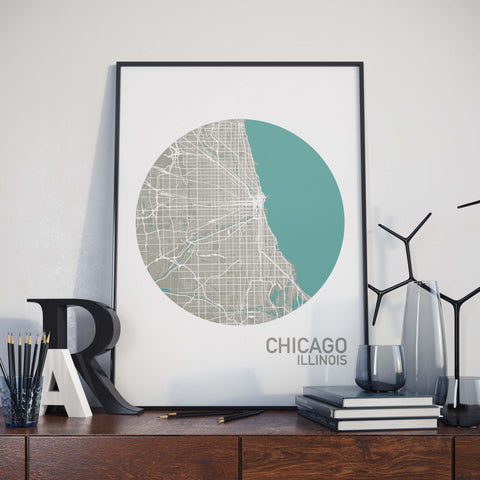 Chicago, Illinois Color City Map Print