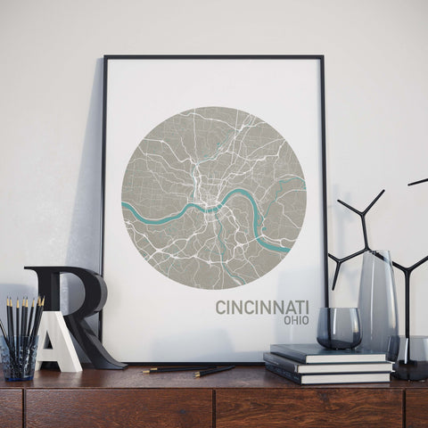 Cincinnati, Ohio Color City Map Print