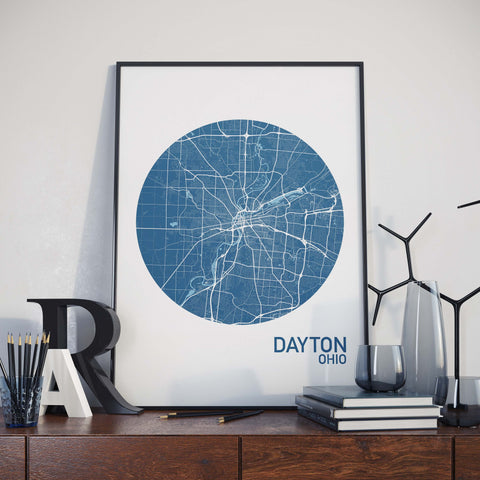 Dayton, Ohio Color City Map Print