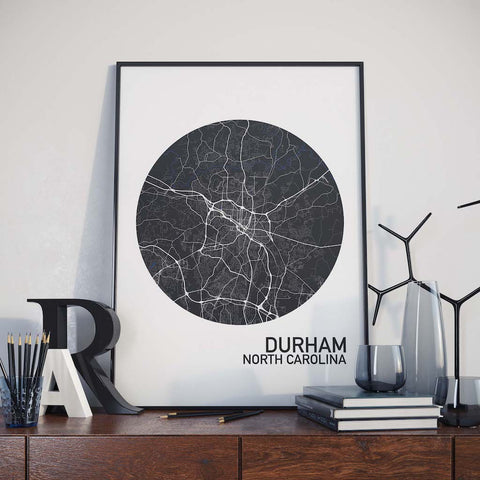 Durham, North Carolina Color City Map Print