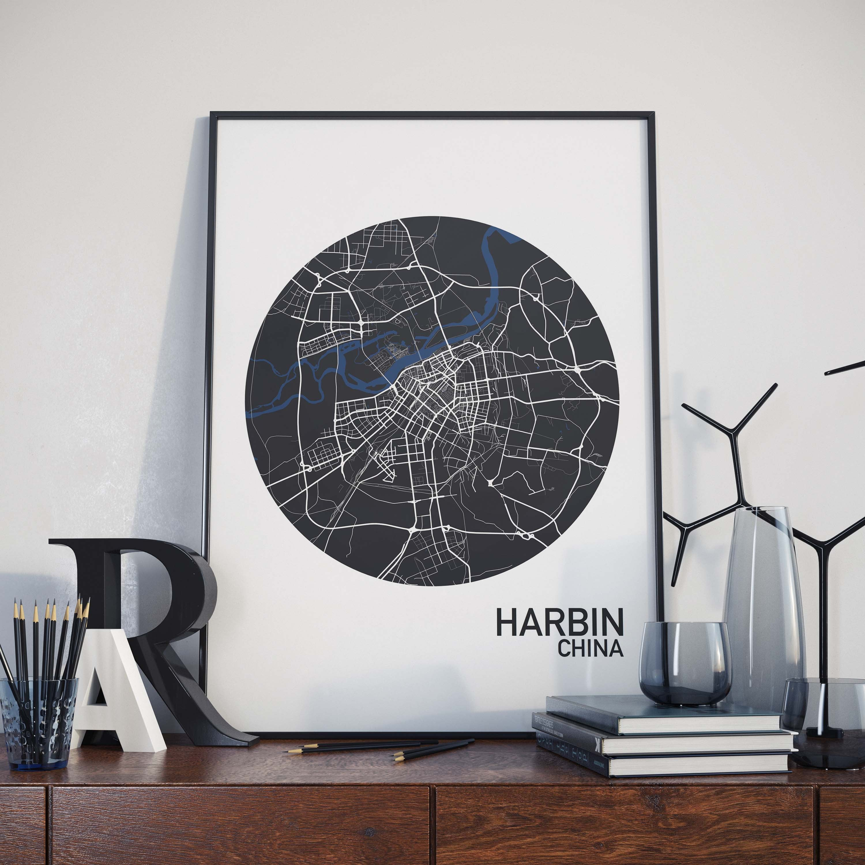 Harbin china color city map print the neighborhood unit harbin china color city map print gumiabroncs Image collections