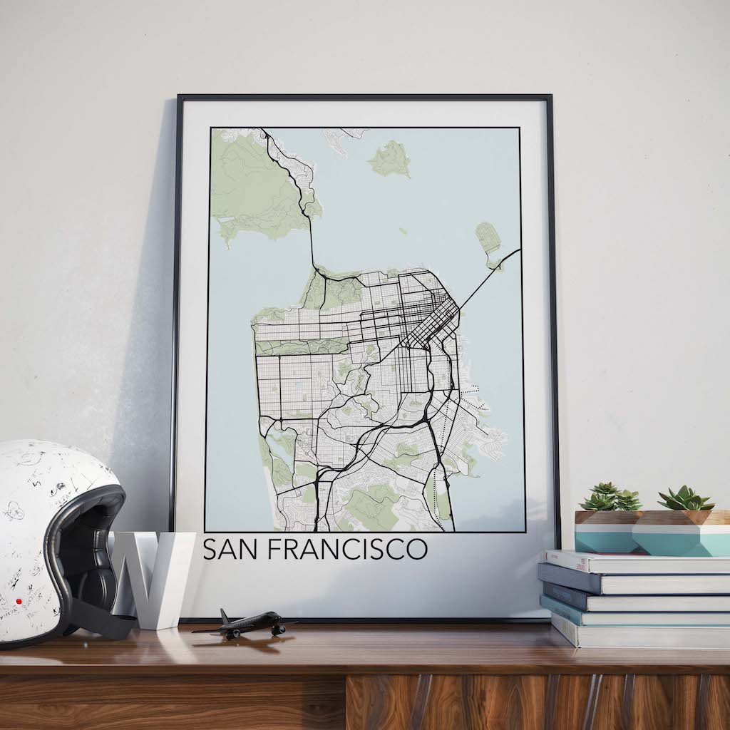 San Francisco California Minimalist City Map Print The