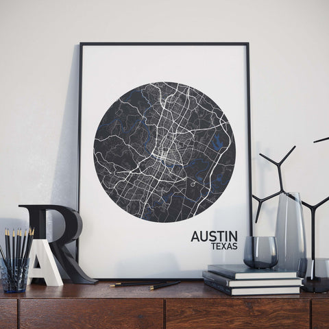 Austin, Texas Color City Map Print