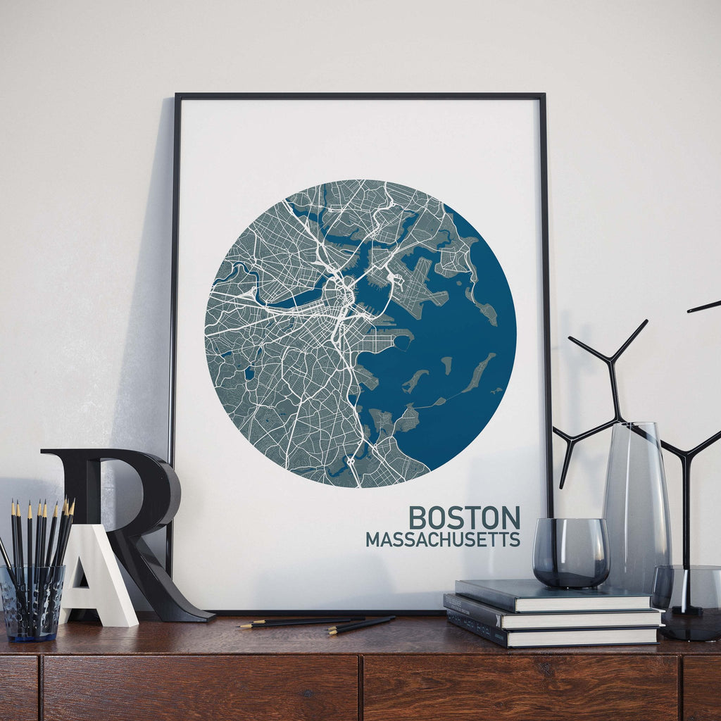 Boston massachusetts color city map print the neighborhood unit boston massachusetts color city map print gumiabroncs Images