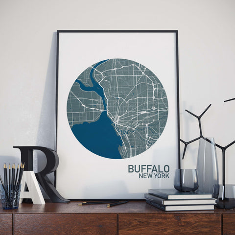 Buffalo, New York Color City Map Print