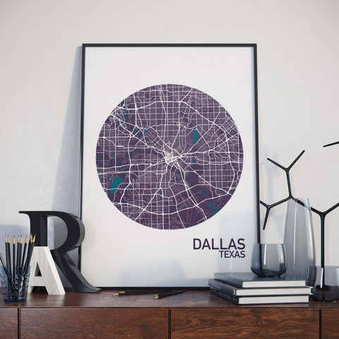 Dallas, Texas Color City Map Print