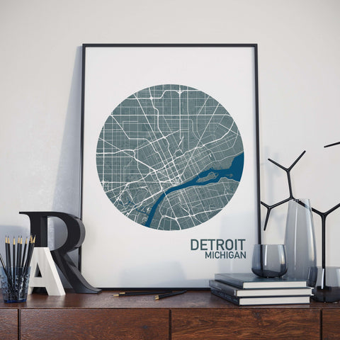 Detroit, Michigan Color City Map Print