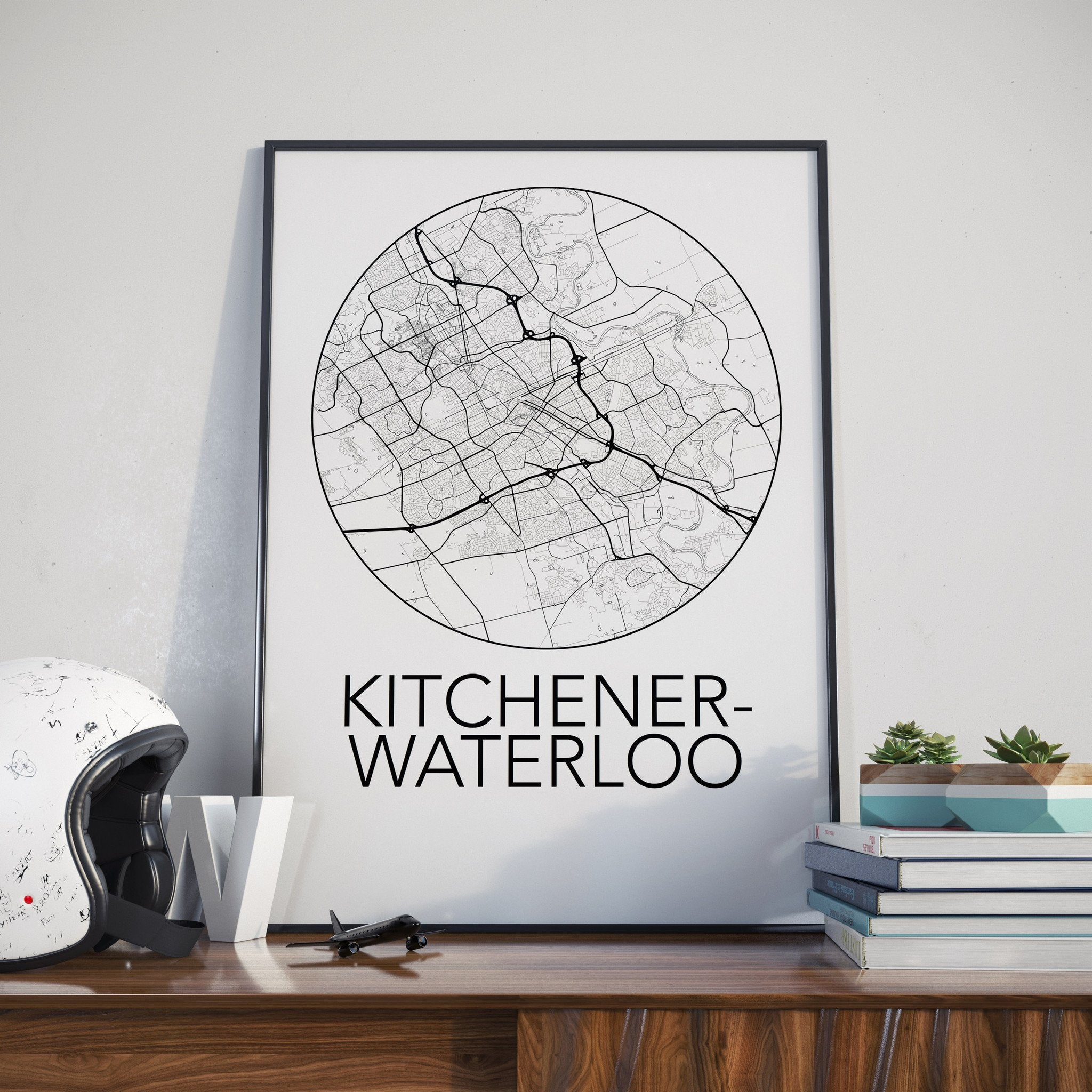 Kitchener-Waterloo, Ontario Minimalist City Map Print – The ...