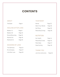 Contents page of Healing After Loss Handbook