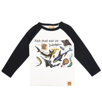 """Fish That Eat Us"" Raglan Sleeve Shirt by Hot Cheese"