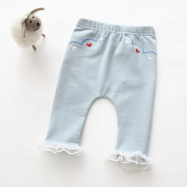 Blue Lace Embroidered Toddler Pants