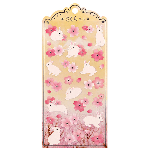 Japanese Rabbits & Cherry Blossoms Stickers