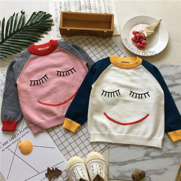 Smiley Face Cotton Knit Pullover