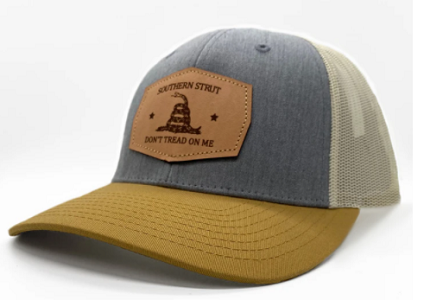 Southern Strut Don't Tread Leather Patch Hat Heather Gray