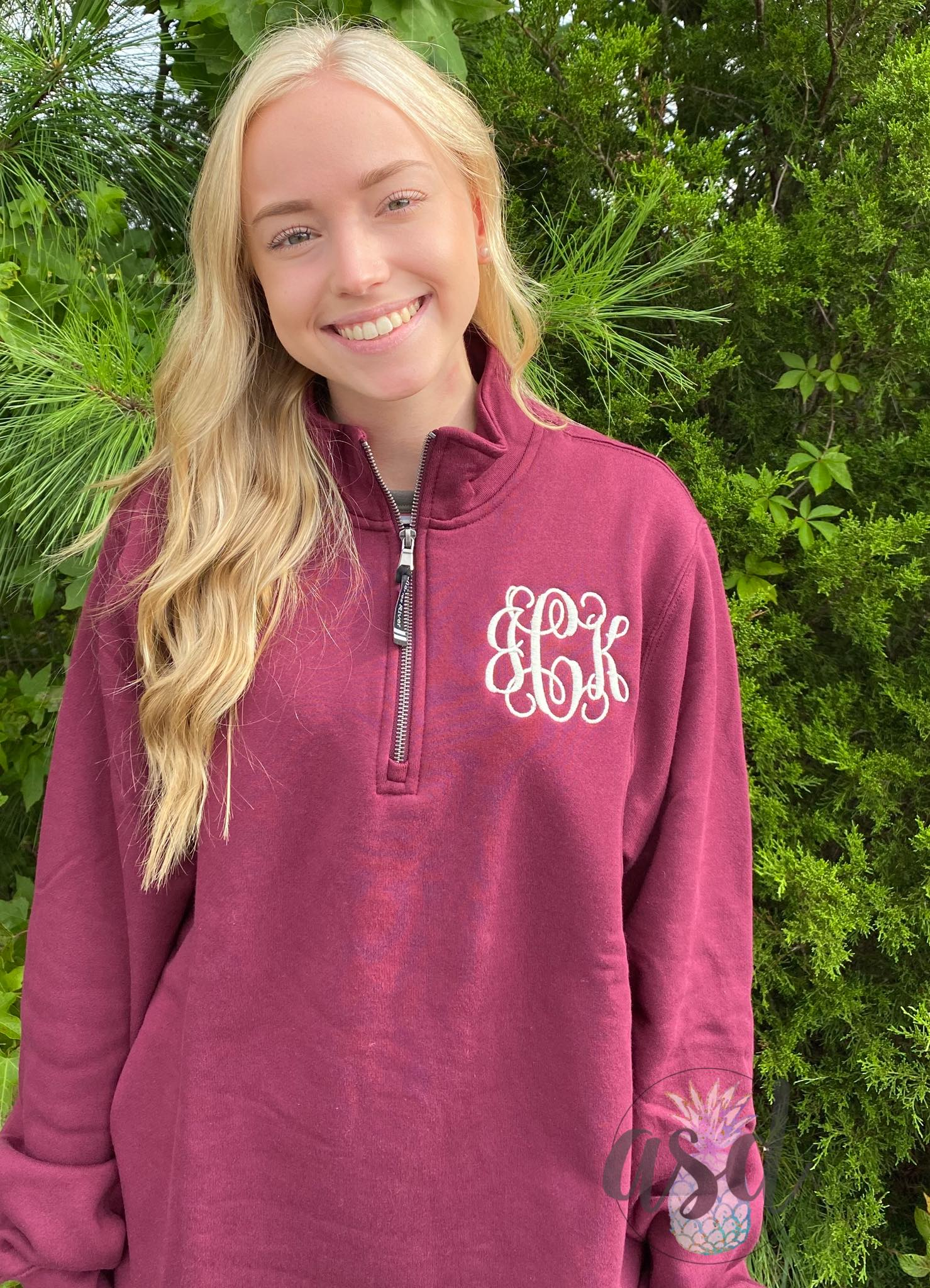 Monogrammed Quarter Zip Sweatshirt (WITH POCKETS!)